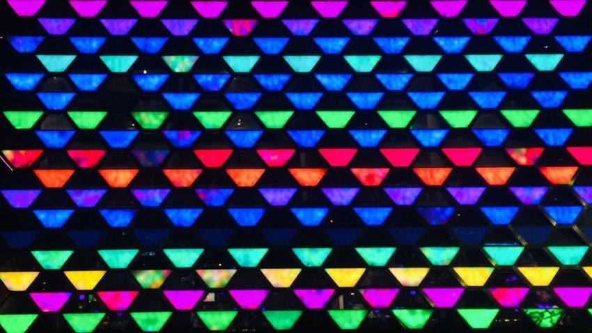 EyeEmNewHere Multi Colored Pattern Backgrounds Full Frame Shape Variation Black Color Blue Red Textured  Choice Design Pink Color Close-up Repetition In A Row Geometric Shape