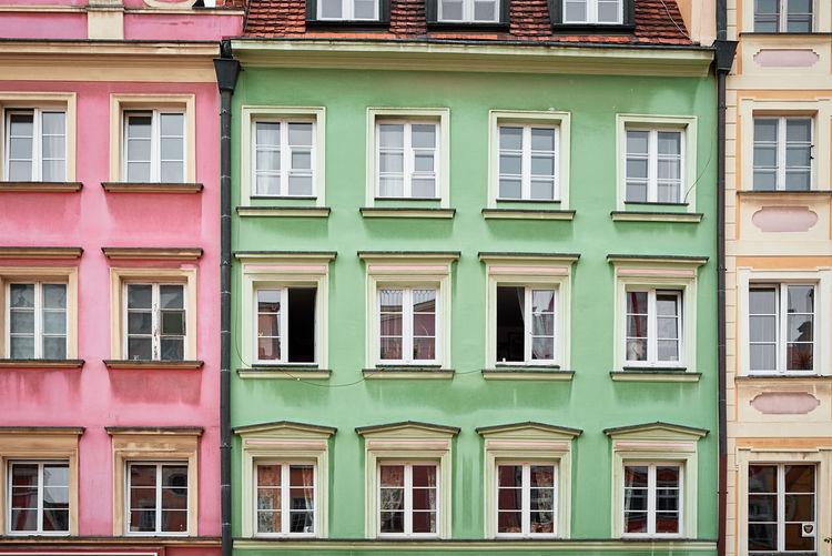 Vintage building facade with windows