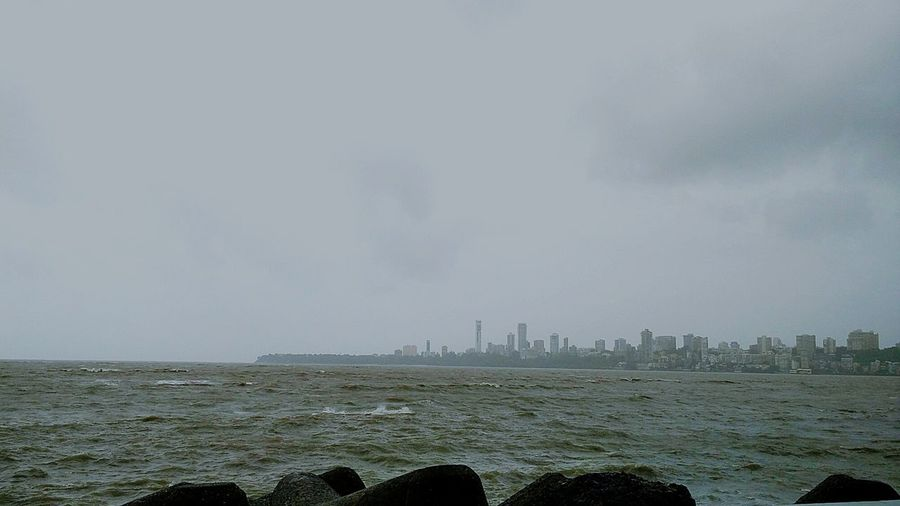 Sea View Urbanization And Development Rocks And Water Waves And Rocks High Tide Monsoon Season Weatherporn Water Arabiansea Marinedrive MumbaiDiaries Mumbai