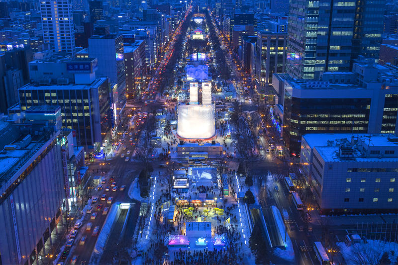 Winter festival Aerial View Architecture Building Building Exterior Built Structure City City Life Cityscape Financial District  Glowing High Angle View Illuminated Modern Night No People Office Building Exterior Outdoors Skyscraper Travel Destinations