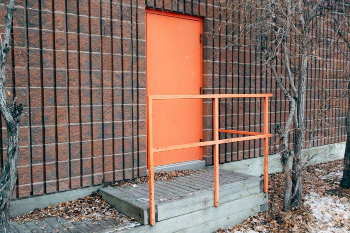 Architecture Brick Wall Building Exterior Built Structure Day Door Minimal Minimalism Minimalist Minimalobsession Northern Canada Orange Outdoors Yellowknife
