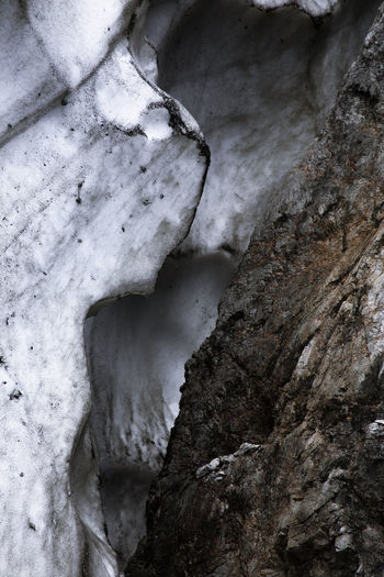 High angle view of rocks in snow