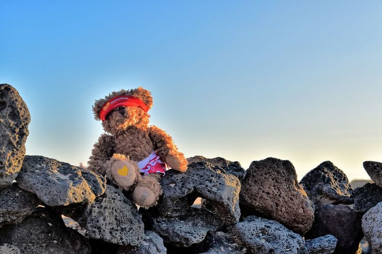 View of stuffed toy on rock against sky
