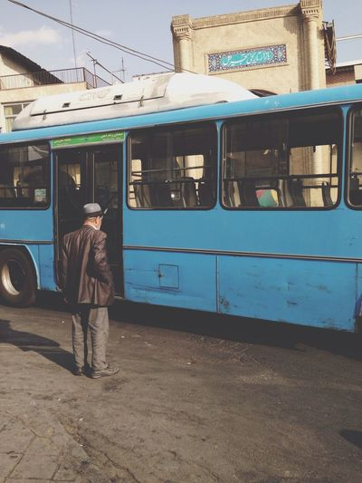 Daily Life Old Man Blue bus