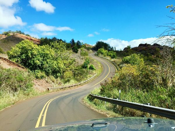 Hawaii Road Transportation The Way Forward Sky Land Vehicle Tree Car No People Day Mode Of Transport Curve Cloud - Sky Nature Tranquil Scene Scenics Landscape Winding Road Outdoors Mountain Beauty In Nature