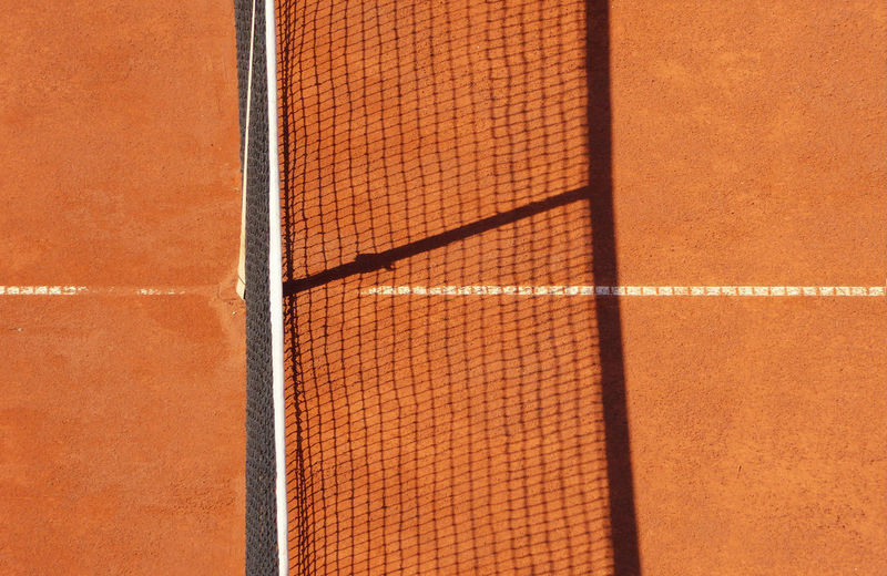 High angle view of net on tennis court