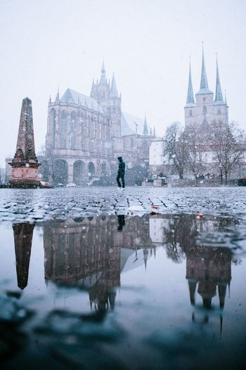 Snow Erfurt Snow Domplatz / Erfurt Domplatz Water Architecture Built Structure Reflection Building Exterior City Waterfront Travel Destinations Tourism Sky Building Nature Travel Religion Day Place Of Worship Belief Outdoors Office Building Exterior Skyscraper