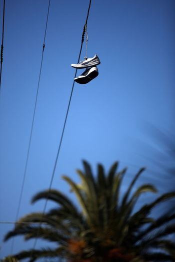 Low Angle View Of Shoes Hanging On Cable Outdoors