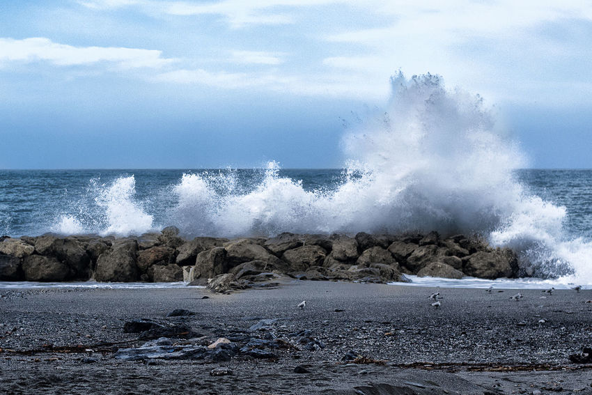 waves on the rocks Beauty In Nature Breaking Crash Day Force Hitting Horizon Over Water Motion Nature No People Outdoors Power In Nature Rock Rough Sea Sky Water Wave