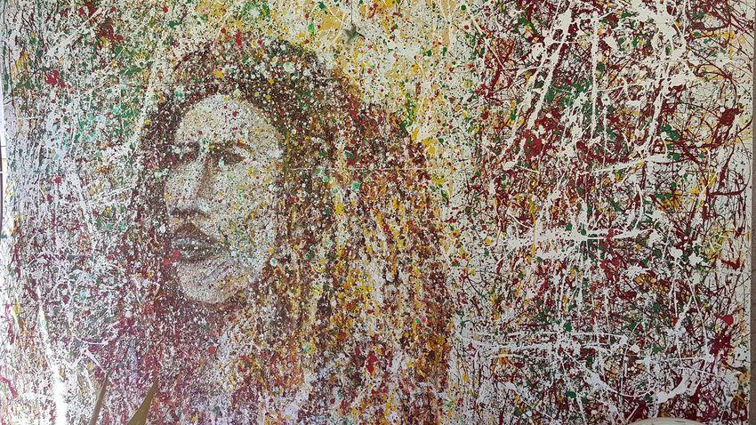 Bob Marley Paint With Drops Check This Out Art ArtWork Alternative Art Rastafarian Rasta Love Abstract Abstract Art
