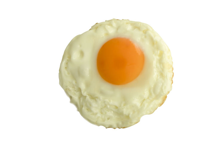 Studio Shot Food And Drink White Background Food Egg Egg Yolk Freshness Indoors  Ready-to-eat No People Healthy Eating Close-up Breakfast Yellow Fried Egg