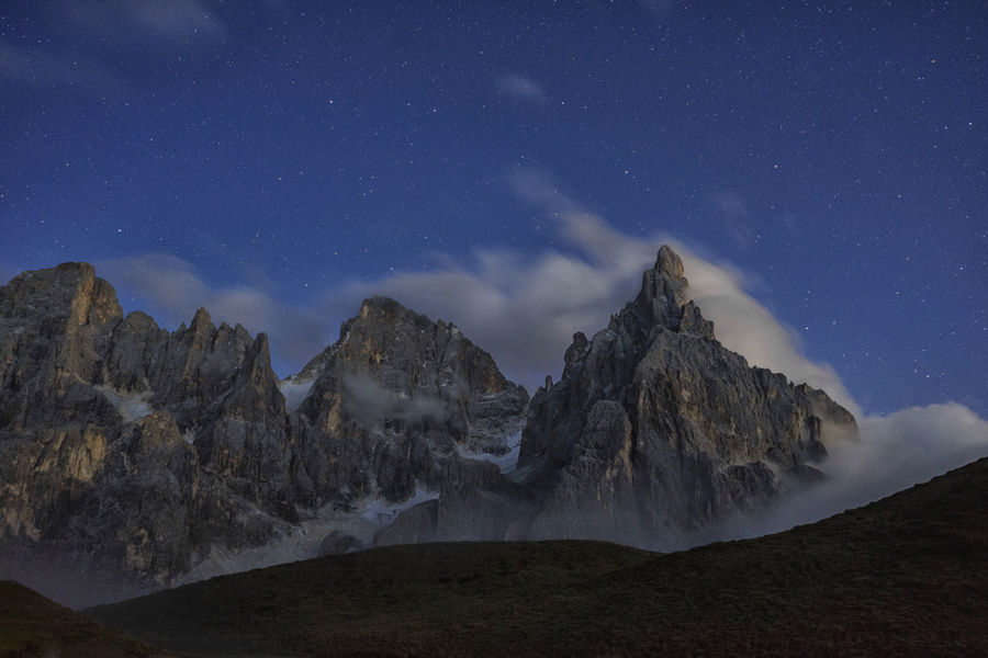 Dolomites San Martino Di Castrozza Alps Astronomy Clouds Cold Temperature Constellation Galaxy Landscape Mountain Mountain Range Nature Night No People North Italy Outdoors Pale Di San Martino Physical Geography Scenics Sky Space Star - Space Stars