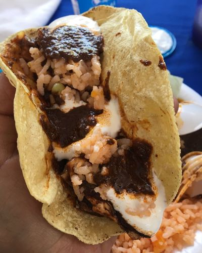 Taco De Mole Mole Con Arroz Enmoladas Upside Down Enmolada Upside Down Enchilada Tacos Taco Tortilla Fresh Made Tortilla Fresh Made  Food Food And Drink Ready-to-eat Close-up Indulgence Freshness Sweet Food Still Life No People