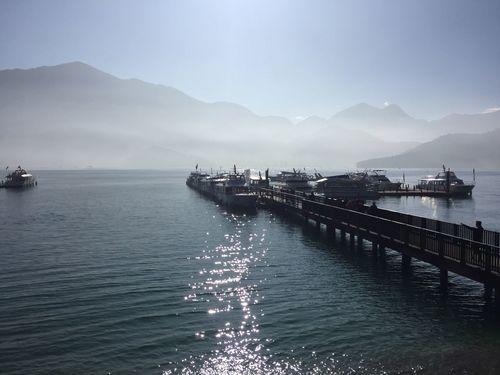 Mountain Sky Outdoors Sun Moon Lake Lake 朝霧碼頭 日月潭 No People Nature Boat Travel Nature EyeEm Taiwan