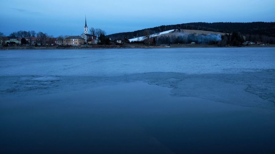 Architecture Beauty In Nature Building Exterior Built Structure Cityscape Cold Temperature Frozen Lake Frymbu Ice Lipno Nature No People Outdoors Sky Snow Travel Destinations Water Winter