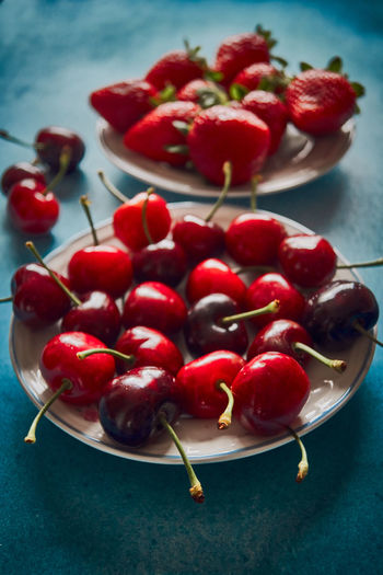 Plate with sweet cherries