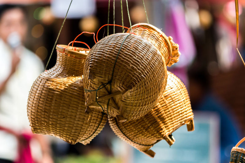 Art And Craft Basket Close-up Day Focus On Foreground Handicraft Handicraft Work Handmade Hanging No People Outdoors Weaving