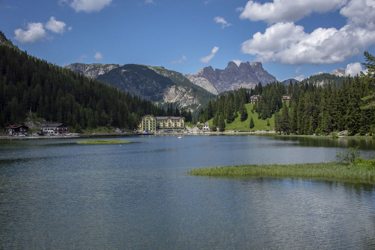 Beauty In Nature Cloud - Sky Day Forest Growth Idyllic Lake Misurina Lake Mountain Nature No People Non-urban Scene Plant Scenics - Nature Sky Tranquil Scene Tranquility Tree Water Waterfront