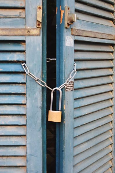 Wood - Material Close-up No People Lock Outdoors Close Up Closed Closed Door Closed Window  Locked Up Locked Chain Padlock Bolt Blue Full Frame Wooden Wooden Texture LINE Textured  Textures And Surfaces Blue Door Streetphotography Window Door