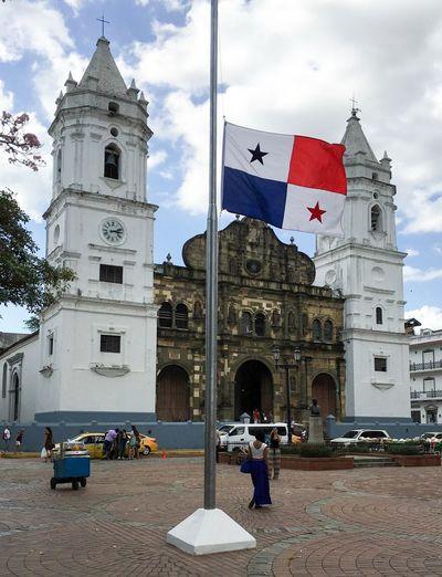 Panama flag and church Panamá Church Iglesia Flag