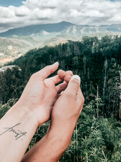 Cropped image of hand holding plant against mountain range