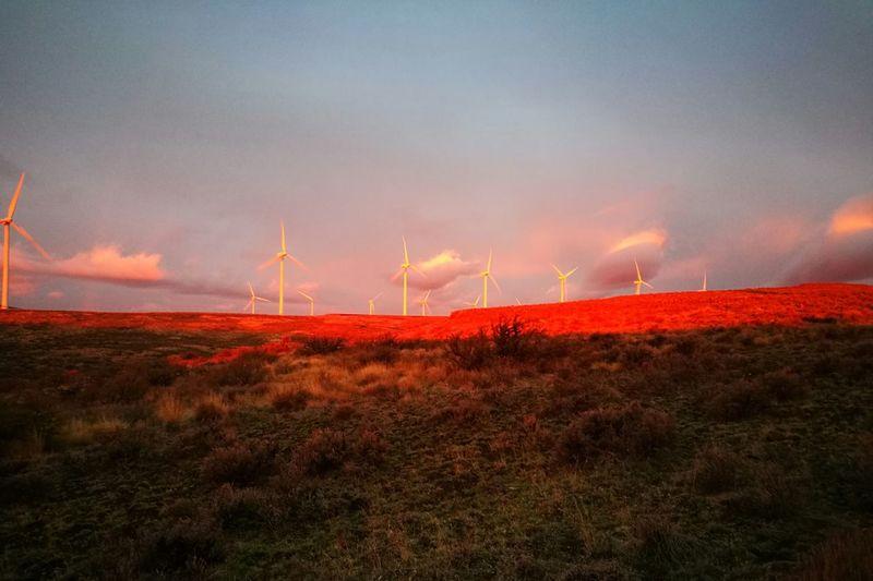 Sunrise, wind mills Sky Wind Turbine