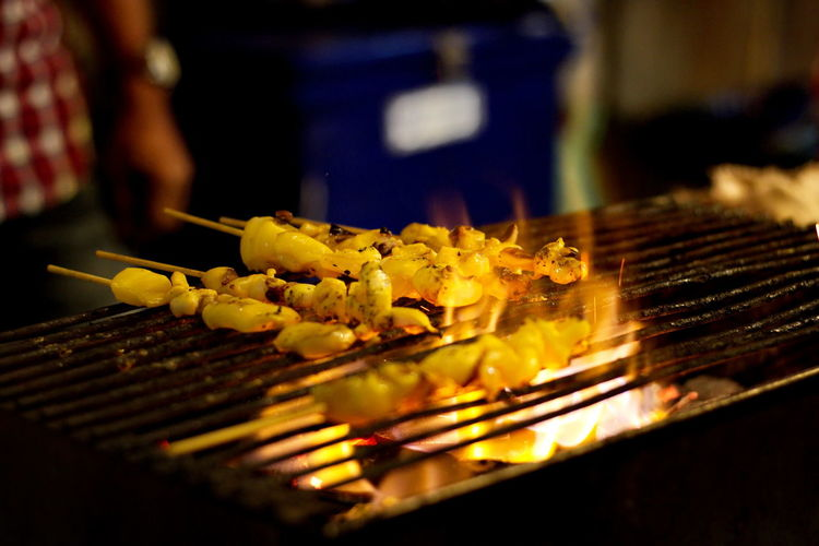 Barbecue Barbecue Grill Burning Business Close-up Commercial Kitchen Flame Food Food And Drink Freshness Healthy Eating Heat - Temperature Indoors  Japanese Food Meat Midsection No People Ready-to-eat Selective Focus Skewer Snack Wellbeing