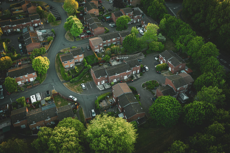 High angle view of trees and houses in city