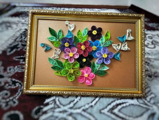 Paper Flowers Flowers Rainbow Mix Handmade Quiling Handmade Paper Quiling Paper Flowers Rainbow Multi Colored Gold Colored Close-up