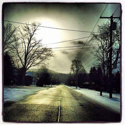 First Light. #miltonvt Abstract Morning Light Sunrise Road Glow Vermont Vt Btv Vt_scenery 802 Milton_vt Miltonvt Vt_scene