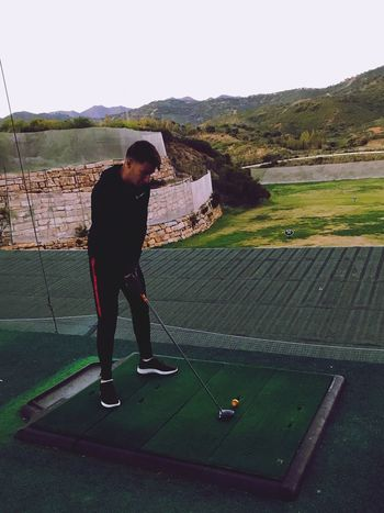 Leisure Activity Sport Golf One Person Playing Full Length Taking A Shot - Sport