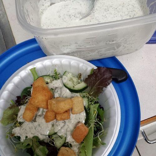 I just made the best ranch! Pretty good! Dairyfree Eggfree Vegan Veggies salad