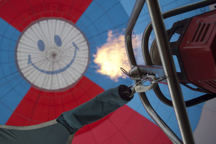 Low angle view of smiley on hot air balloon
