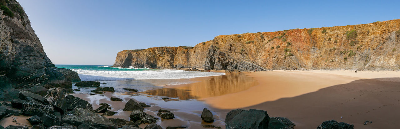 Beach Life Clear Sky Nature Nature Photography Portugal Tranquility Travel Travel Photography Traveling Beach Beauty In Nature Cavaleiro Cliff Nature_collection Naturelovers Ocean Rock - Object Sand Scenics Scenics - Nature Sea Sky Tranquil Scene Travel Destinations Water