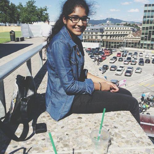 Selfportrait Glasses Sunny Day Starbucks Bern