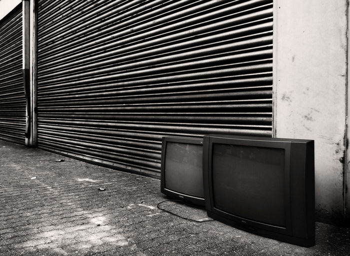 Abandoned Absence Black Color Blackandwhite Photography Close-up Closed Day Empty No People Old Media Repetition Tv Set Vintage Media Vintage Tv Set