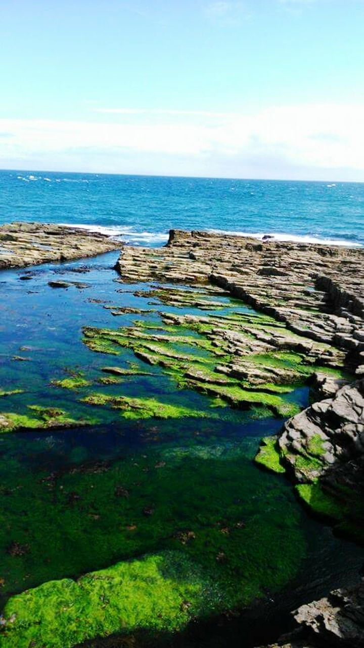 sea, water, horizon over water, nature, scenics, beauty in nature, tranquility, tranquil scene, no people, outdoors, green color, rock - object, sky, day