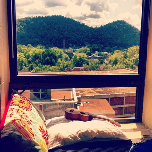 My new favorite spot at Dorm Morehead Ukulele Window Mountains Sky Window View Kentucky  Residential Structure Hotel Room Sliding Door Office Building Bedroom Hotel Suite Hotel Luxury Hotel The Great Outdoors - 2019 EyeEm Awards
