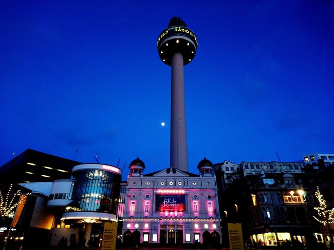 Liverpool Liverpool Merseyside St John's Beacon Radio City Tower Playhouse Playhouse Theatre Night Illuminated Arts Culture And Entertainment Architecture Low Angle View Sky Outdoors Blue Nightlife City Built Structure No People Building Exterior Clear Sky Cityscape Astronomy