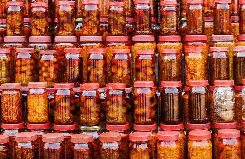 Full frame shot of food in jars at store