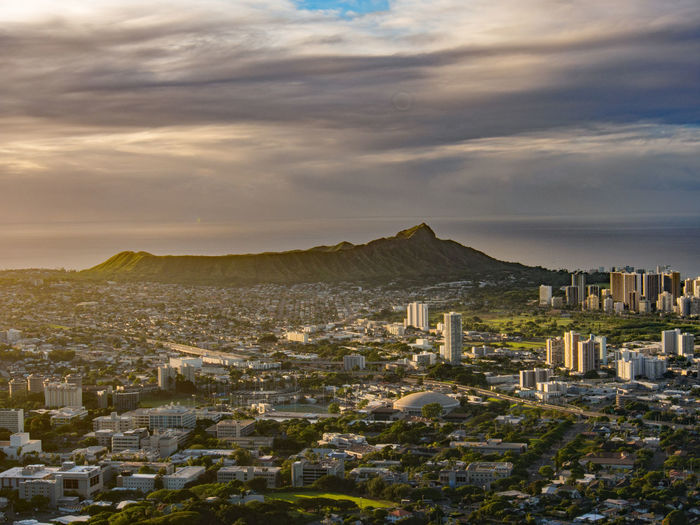 From the top of Tantalus, the county of Honolulu Diamond Head Crater Hawaii Oahu Tantalus Architecture Building Exterior Built Structure City Cityscape Cloud - Sky Community Day Mountain Nature No People Outdoors Residential Building Sky Tantalus Round Top Lost In The Landscape
