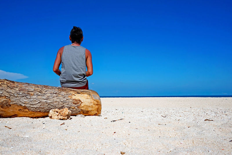 Rear view of woman sitting on tree trunk at beach against sky