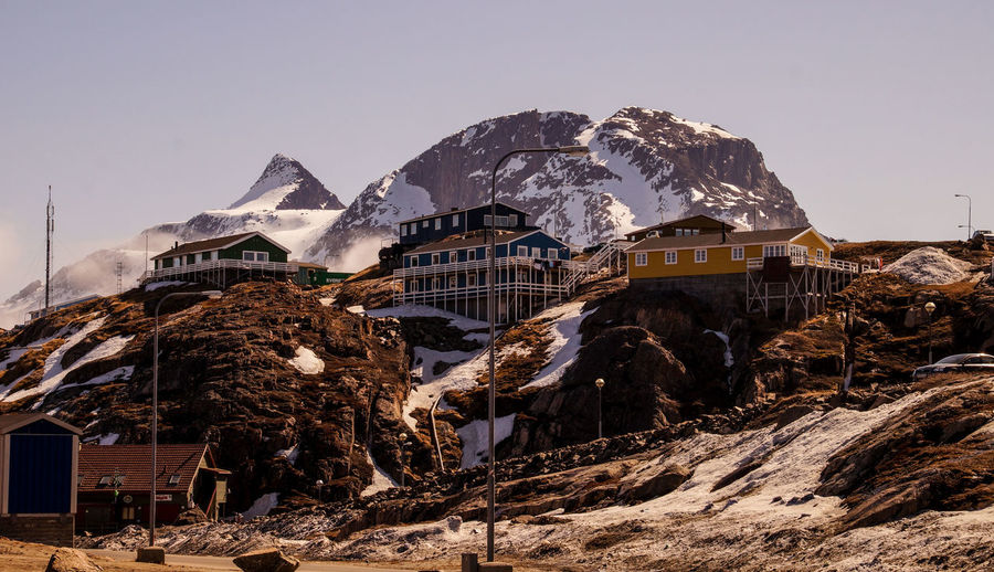 Panoramic view of houses and snowcapped mountains against clear sky