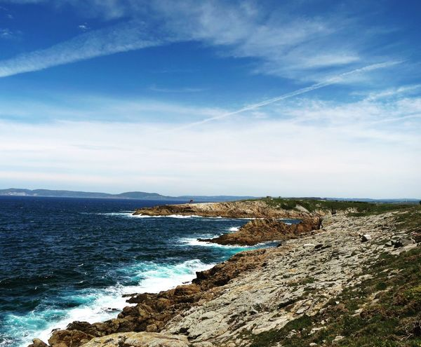 Beauty In Nature Blue Cloud - Sky Galicia La Coruña Nature Rock - Object Rock Formation Scenics Sea Sky Tranquil Scene Tranquility Water