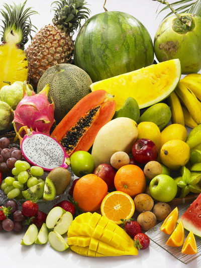 Banana Coconut Mango Pineapple Tropical Fruits Assortment Colorful Dragon Fruit Food Food And Drink Freshness Fruit Grape Guave Healthy Eating Honey Dew No People Orange - Fruit Papaya Pineapple Red Apple Strawberry Variation Variety Watermelon
