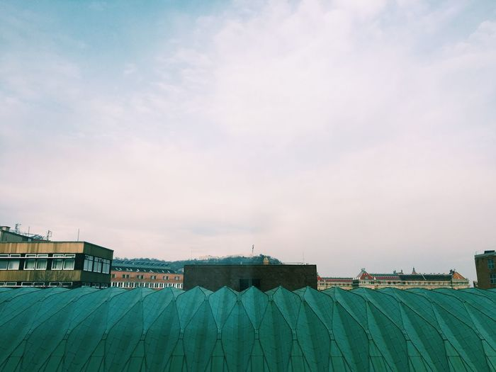 Roof Rooftop Construction Industry Sructure Architecture Budapest Man Made Object Perspective Triangle m Green Iron - Metal Aluminium Below City Life Cityscape Industrial Winter City View  Cityscapes University University Campus Budapest, Hungary The Architect - 2018 EyeEm Awards