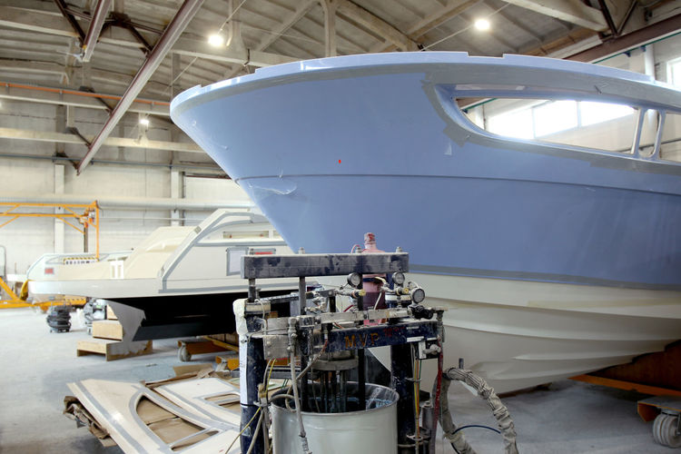 View of yacht in factory