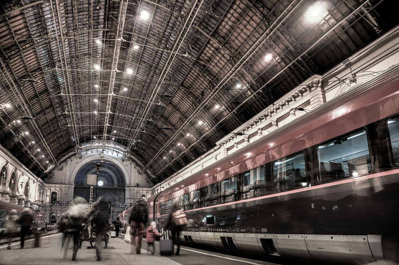Arch Architectural Column Architectural Feature Architecture Budapest Ceiling City Life Diminishing Perspective Hungary Illuminated Interior Keleti Railway Station Lifestyles Lighting Equipment Old The Way Forward Train Station Travel Destinations