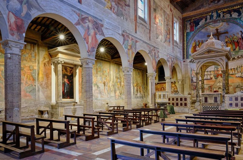 Basilica di SS. Nereo e Achilleo Architecture No People Mural Seat Built Structure Chair Building Arch Table Religion Indoors  Place Of Worship The Past History Travel Destinations Fresco Window Absence Architectural Column Ornate Gothic Style