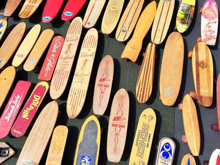 Abundance Arrangement Backgrounds Choice Collection Communication Education Full Frame High Angle View In A Row Indoors  Large Group Of Objects Multi Colored No People Old Order Retro Shapes Side By Side Skateboards Still Life Text Variation Vintage Western Script